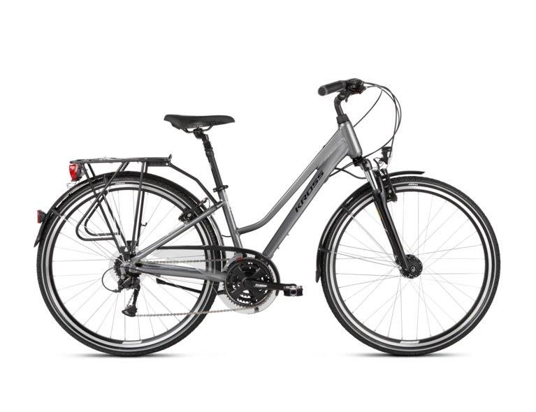 rower Kross 4.0 to wygodny rower trekkingowy w kolorze szarym w sklepie rowerowym