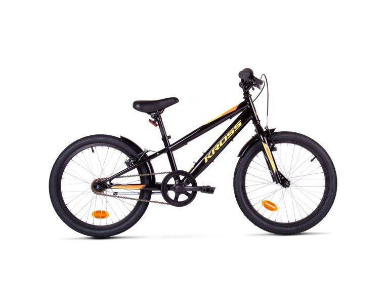 rower kross dla 8latka z ramą w kolorze czarnym z żółtymi napisami